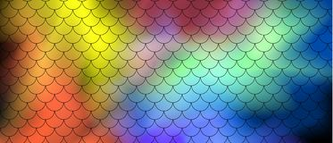 Fish scale motif pattern on abstract background of multi-colored transparent smoke on a black background. Vector art stock illustration