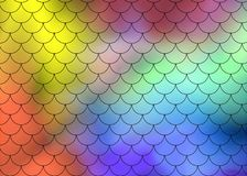 Fish scale motif pattern on abstract background of multi-colored transparent smoke on a black background. Vector art vector illustration