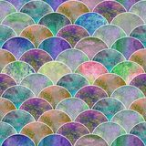 Fish scale wave japanese seamless pattern. Fish scale ocean wave japanese seamless pattern. Watercolor hand drawn rainbow colorful texture background Stock Images
