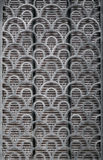 Fish scale patterened wall texture. Wall detail with fish skin, half circle pattern texture background, grunge scale architectural detail stock images