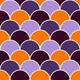 Fish scale wallpaper in Halloween traditional colors. Asian classic ornament with repeated scallops. Seamless surface pattern with vivid semicircles. Grid Royalty Free Stock Images