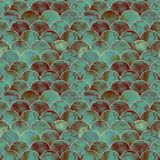 Fish scale wave japanese seamless pattern. Fish scale ocean wave japanese seamless pattern. Watercolor hand drawn bright green teal brown texture background Royalty Free Stock Photography