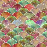 Fish scale wave japanese seamless pattern. Fish scale ocean wave japanese seamless pattern. Watercolor hand drawn rainbow colorful texture background Royalty Free Stock Photo