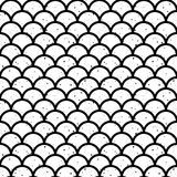 Fish scales black and white seamless pattern vector. Abstract seamless wave pattern in black and white. Fish scales, japan motif. Ink splashes. Vector Stock Photography