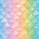 Fish scales seamless pattern. Mermaid tail texture in spectrum colors. Vector illustration. Print design for textile, posters, greeting or child birthday cards Stock Image