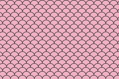 Fish scales seamless pattern on Pink background.