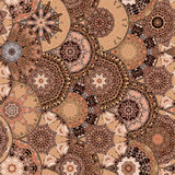 Fish-scales seamless texture with unique mandalas in ethnic style on brown tones. Stock Photos