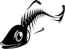 Fish sceleton. Vector illustration of a fish sceleton. Black and white Stock Photos