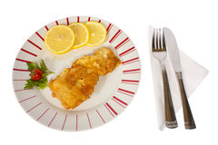 Fish schnitzel with lemon Royalty Free Stock Photos