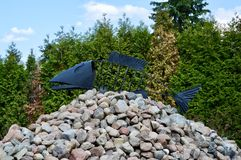 Fish sculpture. Made in open air museum in Poland Stock Photo