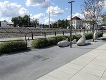 Fish sculptures near Vistula Boulevards royalty free stock photos