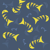 Fish on the sea. Vector seamless background with yellow fish Stock Photography