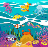 Fish and sea animals under the ocean Royalty Free Stock Photography