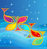 Fish and sea background. Fish and sea water and waves background Stock Photography