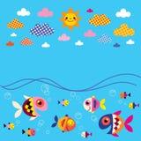 Fish, sea, clouds, sun summer background Stock Photo