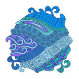 Fish sea. Ethnic ornament doodle decorative Marine sealife.Round on  white background Stock Image