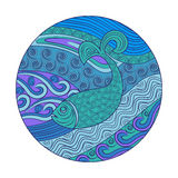 Fish sea. Ethnic ornament doodle decorative Marine sealife.Round on  white background Royalty Free Stock Photography