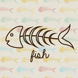 Fish sea food. Design over pattern background vector illustration Royalty Free Stock Photography