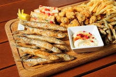Fish and sea fruits snacks board for beer Stock Photos