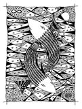 Fish in the sea. Graphic drawing. Two fish in the ocean. Graphic design Royalty Free Stock Photo