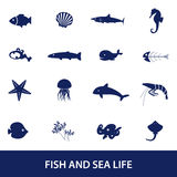 Fish and sea life icons set Stock Photo