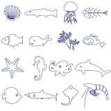 Fish and sea life outline icons set Royalty Free Stock Photo
