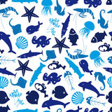 Fish and sea life seamless pattern Royalty Free Stock Photos