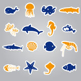 Fish and sea life stickers set Stock Photos
