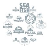 Fish sea logo icons set, simple style. Fish sea logo icons set. Simple illustration of 16 fish sea logo vector icons for web Royalty Free Illustration