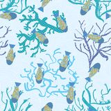 Fish in sea, underwater pattern. vector seamless texture Stock Photo