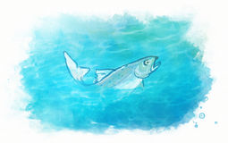 Fish in the sea water. Watercolor illustration of fish in the sea water Royalty Free Stock Photography