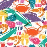 Fish and seafood background seamless pattern vector illustration