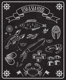 Fish and seafood blackboard vector elements. With white line drawings of fish  ships wheels  calamari  lobster  crab  sushi  shrimp  prawn  mussel  salmon steak Royalty Free Stock Image
