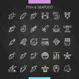 Fish and seafood chalk icons Stock Images