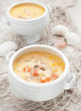 Fish and seafood chowder soup Royalty Free Stock Images