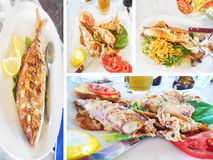 Fish and seafood at a greek tavern royalty free stock images