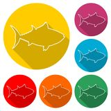 Fish or seafood icon, color icon with long shadow. Simple vector icons set Royalty Free Stock Images