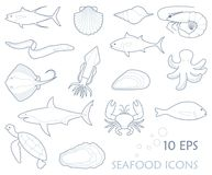 Fish and seafood - outline icon collection. Fish and seafood icons. Linear stylized vector illustration Stock Image