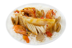 Fish with seafood and rice Royalty Free Stock Photography