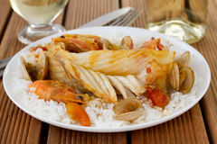 Fish with seafood and rice Royalty Free Stock Photo