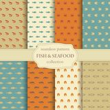 Fish and seafood seamless backgrounds Royalty Free Stock Photo