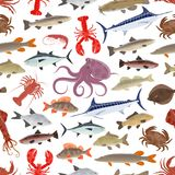 Fish and seafood seamless pattern background. With sea and ocean animal. Salmon, crab and octopus, shrimp, squid and lobster, marlin, tuna and carp, trout Stock Photo