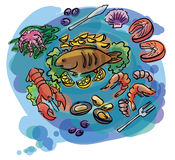 Fish and seafood set illustration. Fish and seafood set of sketch illustration Stock Photography