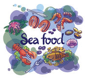 Fish and seafood set lettering. Fish and seafood set illustration and lettering Royalty Free Stock Photography