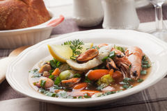 Fish and seafood soup. Seafood soup with shimps, mussells and vegetable Stock Photo