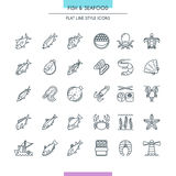 Fish and seafood thin icons Royalty Free Stock Images