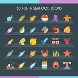 Fish and seafood thin set Stock Photo