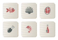 Fish, Seafoods and Meat icons | Cardboard series. Vector icon set. Three color icons on cardboard tags Stock Photo