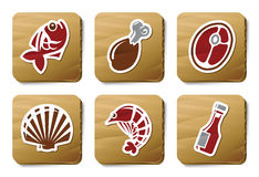 Fish, Seafoods and Meat icons | Cardboard series. Vector icon set. Three color icons on cardboard tags Royalty Free Stock Images