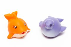 Fish and seal toys. On white background Stock Photography